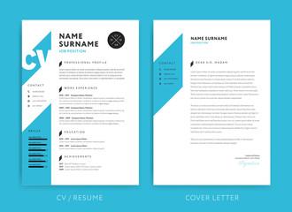 Creative CV / resume template blue background color minimalist vector