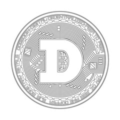 Crypto currency black coin with black dogecoin symbol on obverse isolated on white background. Vector illustration. Use for logos, print products, page and web decor or other design.