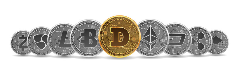 Set of gold and silver crypto currencies with golden dogecoin in front of other crypto currencies as leader isolated on white background. Vector illustration. Use for logos, print products