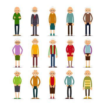 Old people. Set of diverse elderly people with avatars isolated on white background. Caucasian aged people. Elderly men and women. Illustration in flat style
