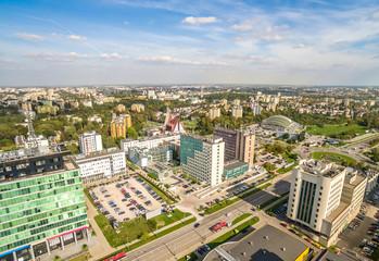 Lublin - krajobraz miasta z powietrza. Ulica Tomasza Zana widziana z lotu ptaka.