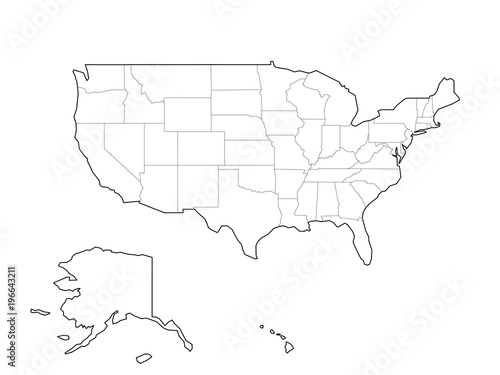 Blank black vector outline map of USA, United States of America ...