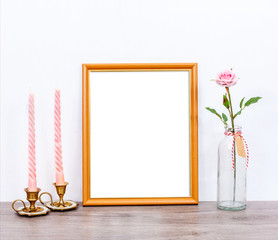 Minimalistic mock up 8x10 with pink candles and rose flower