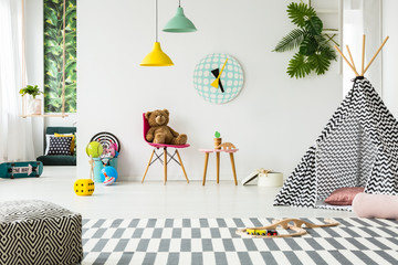 Patterned tent in kid's room