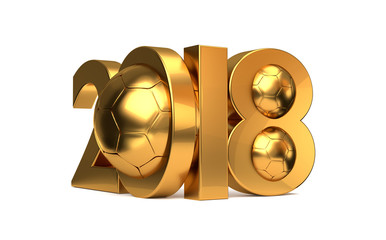 2018 golden soccer football symbol balls 3d rendering
