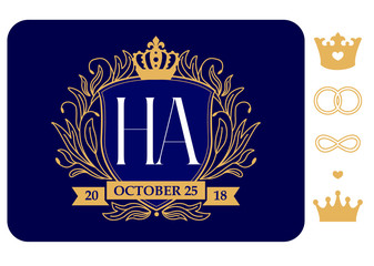 Family coat of arms. Wedding emblem with date and initials. Marriage logo. Design template for invitations royal card. Dark navy blue with gold line. Set of vector elements for constructor monogram