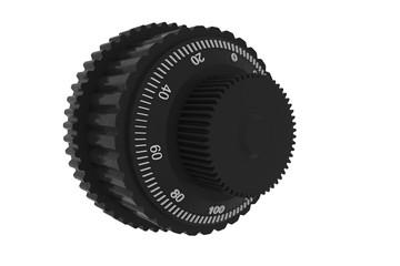3d  rendering Stift Regler Mikroskop Teilung Skala Drehung Kunststoff Instrument Teil Ersatz Ersatz Genauigkeit weißen Hintergrund isoliert Objekt