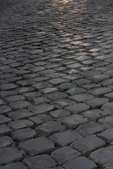 Sun Shining On Cobblestone Road