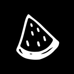 Linear cartoon hand drawn watermelon. Cute vector black and white doodle watermelon. Isolated monochrome watermelon silhouette on black background.