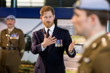 Britain's Prince Harry meets the latest graduates who have received their Wings at the Army Aviation Centre in Middle Wallop