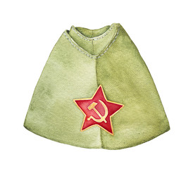 Russian military forage cap with red star badge, front view. Most common type of cap used by Red Army during WWII and after until the 1980s. Hand drawn watercolour graphic drawing on white, isolate.