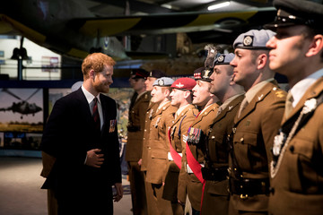 Britain's Prince Harry inspects the latest graduates who have received their Wings at the Army Aviation Centre in Middle Wallop