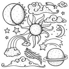 Celestial elements doodle