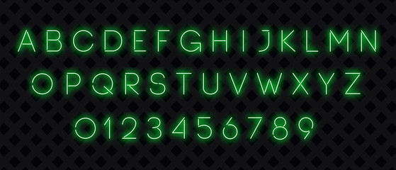 Neon font. Green neon alphabet with numbers on a dark background. Vector illustration.