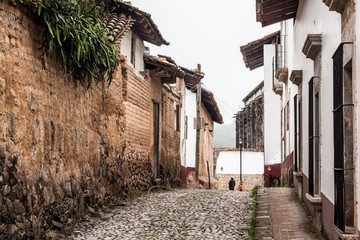 Cobbled street in an old town