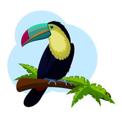 Toucan sitting on tree branch with green leaves.
