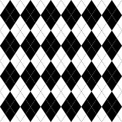 Black and white argyle seamless pattern background. Diamond shapes with dashed lines. Simple flat vector illustration.