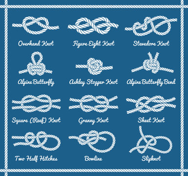 Set of rope knots, hitches, bows bends. Part 1 3