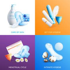 Feminine Hygiene Concept Icons Set