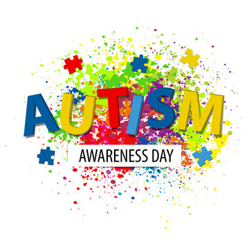 Autism awareness poster with colorful puzzle