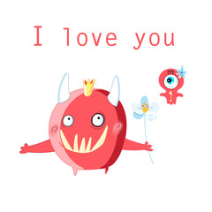 Greeting card with cheerful in love monsters