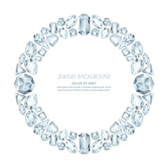 Vector round frame from realistic silver gems and jewels on white background. Shiny diamonds jewelry design elements.