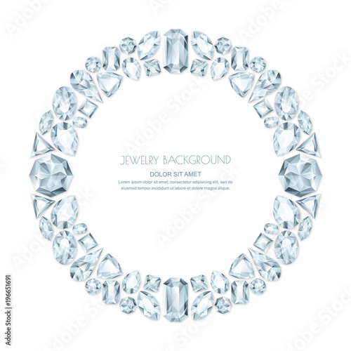 Vector round frame from realistic silver gems and jewels on white ...