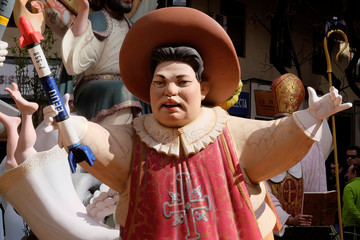 A figure representing North Korean leader Kim Jong Un is depicted at a monument during the Fallas festival in Valencia
