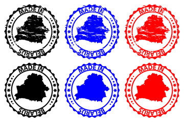 Made in Belarus - rubber stamp - vector, Belarus map pattern - black,blue and red