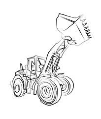 Excavator illustration isolated art work