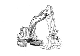 Excavator illustration isolated art work
