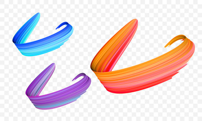 Acrylic paint brush stroke. Vector bright orange, velvet or purple and blue gradient 3d paint brush with vibrant texture on transparent background. Creative concept of digital painted color stroke