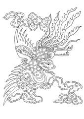 chinese pattern phoenix illustration,hand drawn painting