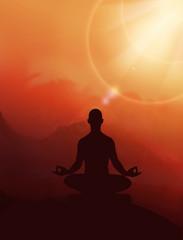 Yoga man on meditation. Sunrise with yoga person