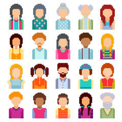 Set of pixel art avatar faces. Men and women of all ages on white background.