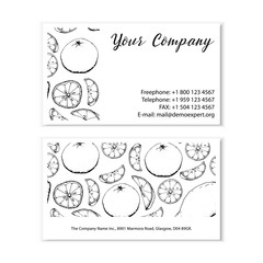 Black and white business card fruit sketch hand drawing simple minimal vector illustration