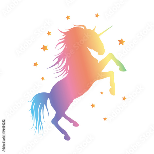 Vector silhouette of unicorn on moon background