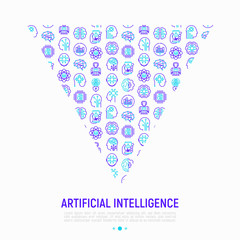 Artificial intelligence concept in triangle with thin line icons: robot, brain, machine learning, marketing analytics, cpu, chip, voice assistant. Modern vector illustration for print media, banner.