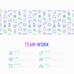 Teamwork concept with thin line icons: group of people, mutual assistance, meeting, handshake, tug-of-war, cooperation, puzzle, team spirit, cooperation. Vector illustration for web page template.