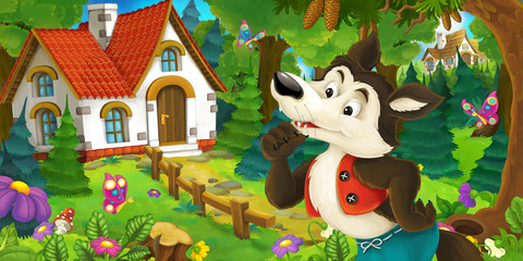 cartoon scene with wolf in the forest near beautiful wooden farm house - illustration for children