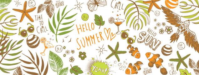 Summer doodles background