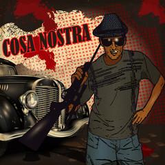 Gangster on retro car background.