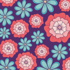 Beautiful flowers background, colorful design. vector illustration