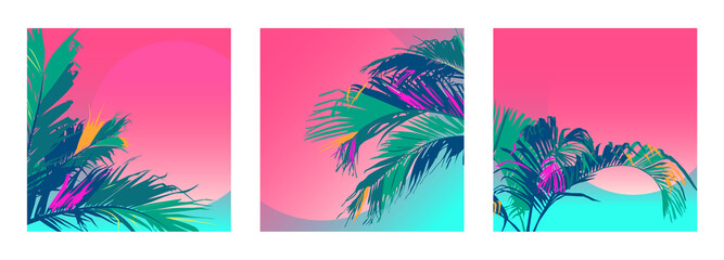 3 Tropical Leafs square neon gradient