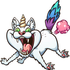 Crazy farting caticorn. Vector clip art illustration with simple gradients. All in a single layer.