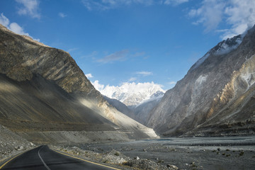 Pakistan country, view along the way from Passu village to China border on Karakorum highway.
