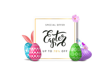 Vector realistic isolated poster for Easter sale with eggs, flowers and rabbit for decoration and covering on the white background. Concept of Happy Easter.