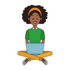 Young woman seated using laptop vector illustration graphic design