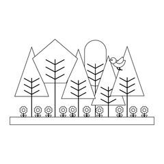 spring natural flowers trees bird landscape vector illustration  thin line