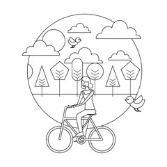 happy young woman riding bicycle in the park birds flying vector illustration thin line